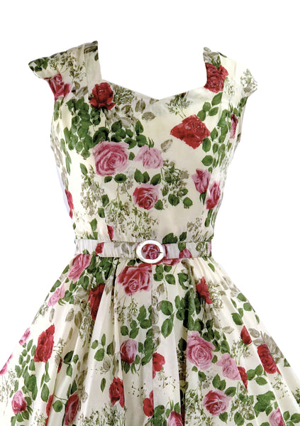Early 1950s Pink/Red Rose Print Rayon Dress- New!