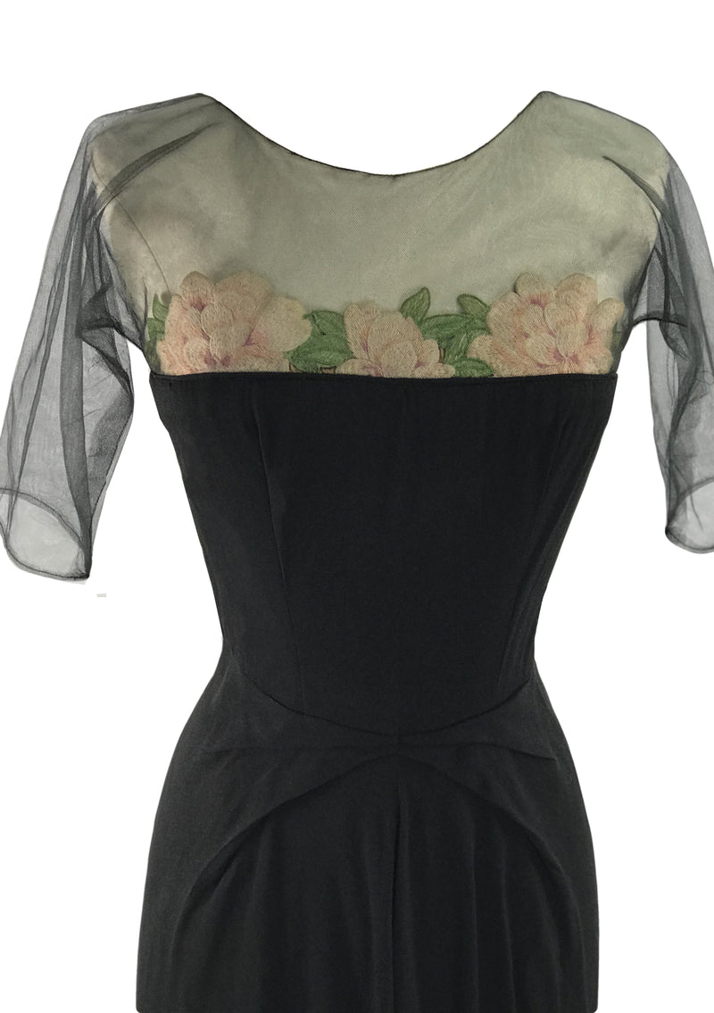 Rare 1940s Black Rayon Couture Dress with Embroidered Roses - New!
