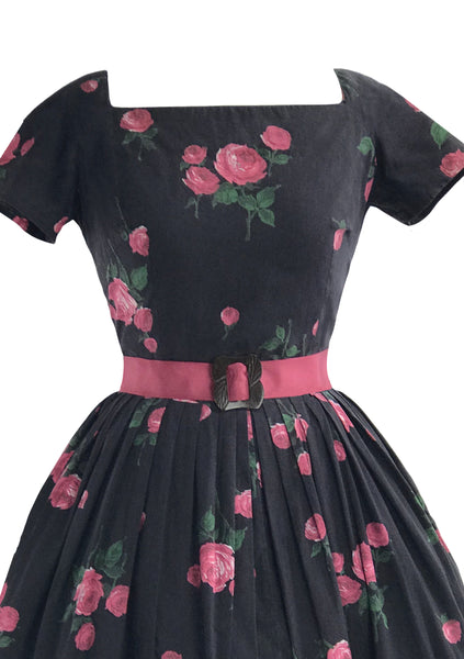 Vintage 1950s Pink Roses on Black Cotton Dress- New!