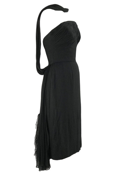 1950s Black Designer Black Silk Chiffon Cocktail Dress - New!