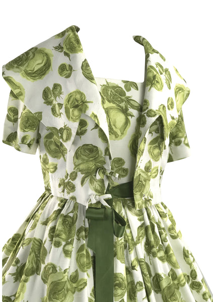 Vintage 1950s Green Roses Slub Silk Dress & Jacket Ensemble- New!