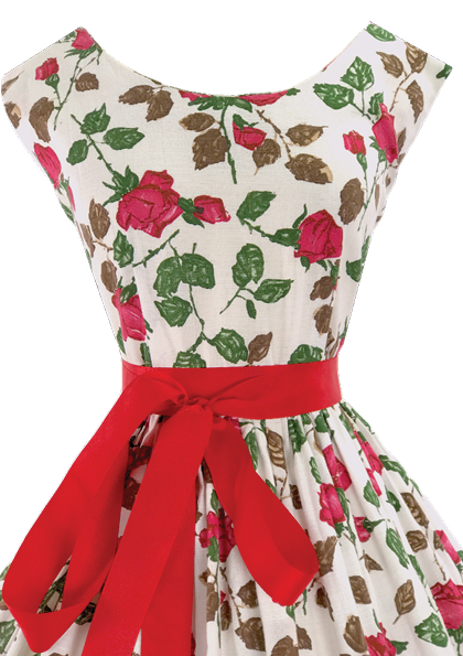 1950's Magenta Briar Roses Pique Cotton Dress - New! (ON HOLD)