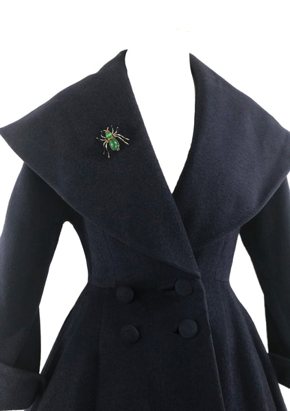 Rare 1950s Navy Blue Lilli Ann Designer Princess Coat- New!