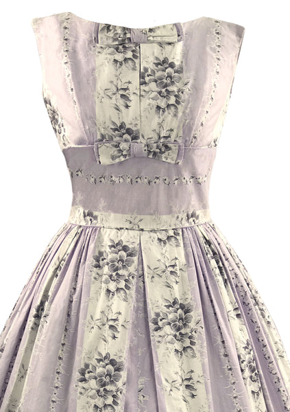 Vintage 1950s Lavender Floral Cotton Dress- New!