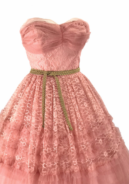 Vintage 1950s Rose Pink Lace Party Dress - New!