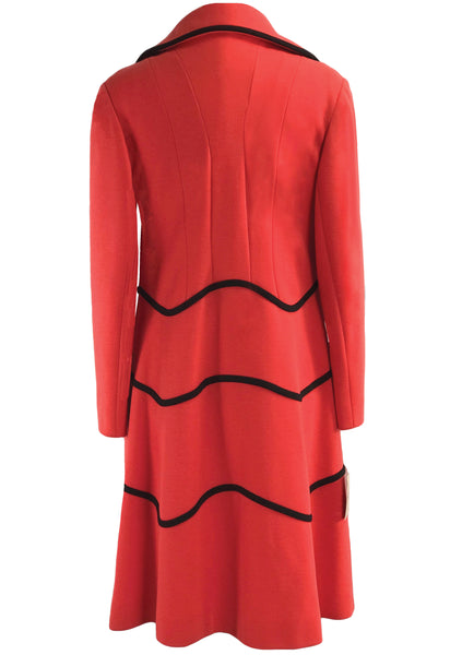 Vintage 1960s Designer Red and Black Ensemble- New!