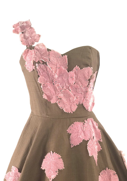 1950s Chocolate Linen and Pink Velvet Applique Dress- New!