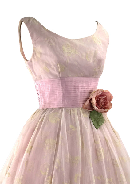 Late 1950s Early 1960s Pink Flocked Party Dress - New!