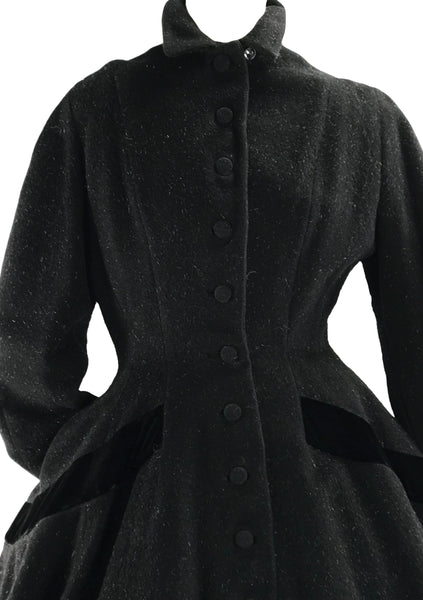 1950s Couture Lilli Ann Black Wool Princess Coat- New!
