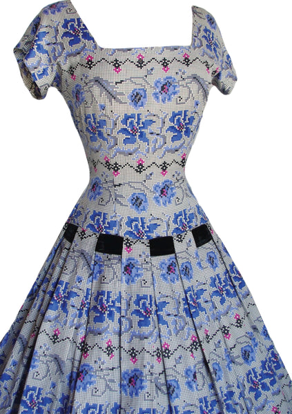 1950's Blue Floral Tapestry Print Cotton Dress- New