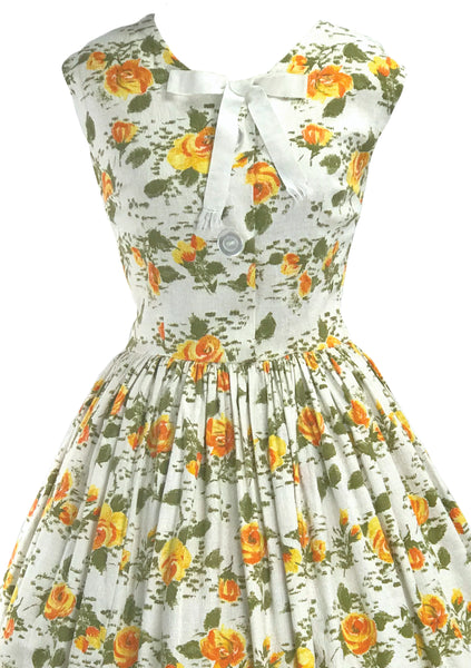 Vintage 1950s Golden Roses Pique Dress  - New!