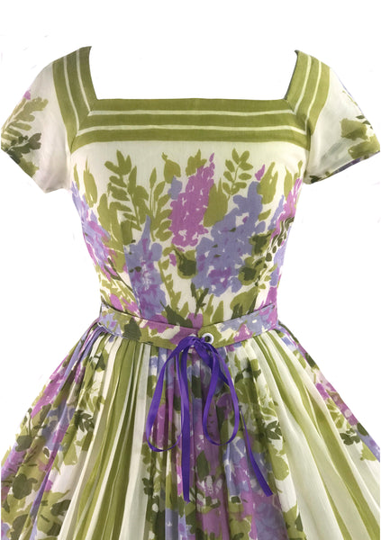 1950s Jerry Gilden Designer Lilac Border Floral Dress- New