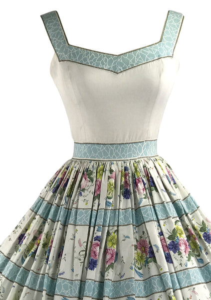 1950s Designer Quality Floral Cotton Dress- New!