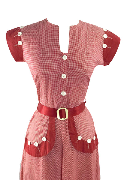 Cute 1940s Red & White Gingham Cotton Dress  - New!