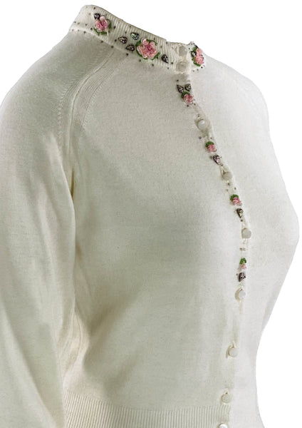 Vintage 1950s White Cropped Cardigan With Appliques- New!