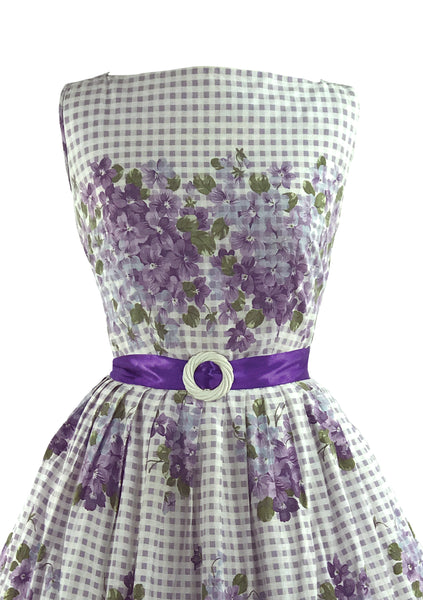 Vintage 1950s Violet Posies Cotton Border Print Dress- New!