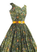 Beautiful 1950s Olive Green Floral Cotton Dress- New!