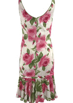 Lovely 1950s Huge Pink Roses Cotton Sheath Dress - New!
