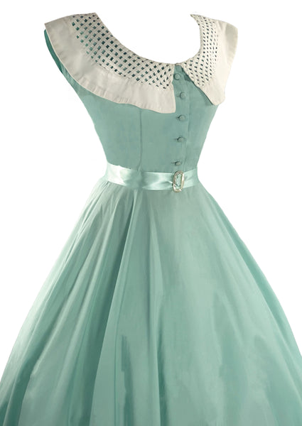Vintage 50s to Early 60s Mint Green Cotton Dress- New!