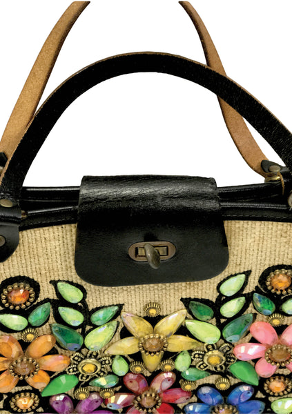Vintage 1960s Edith Collins Jewelled Canvas Handbag - New!