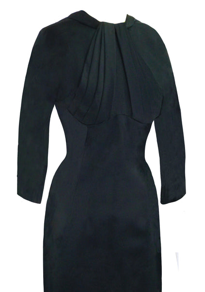 Vintage 1950s Lilli Ann Black Sheath Dress- New!