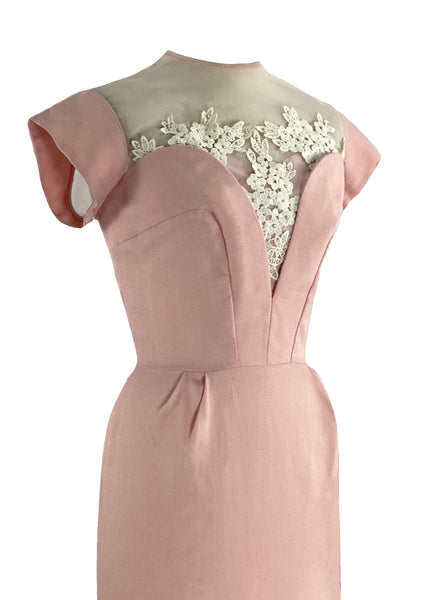 1950s Designer Pink Linen Applique Wiggle Cocktail Dress- New!