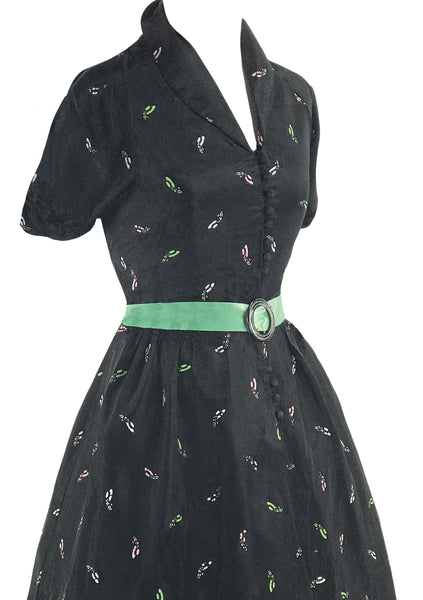 Late 1940s  Novelty Chapeau Black Taffeta Dress - New!
