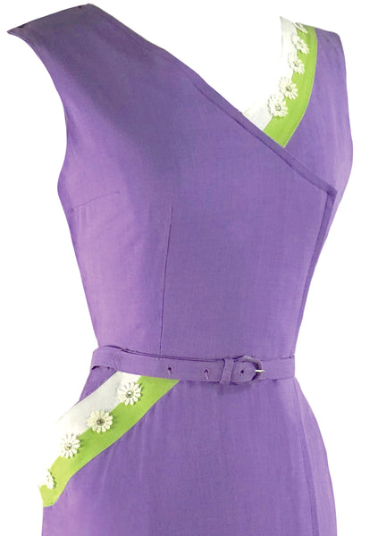Vintage 1950s Lilac Linen Wiggle Dress with Daisy Applique- New!