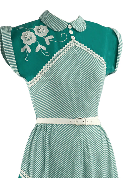 1940s Green & White Chevron Stripe Dress with Applique - New!