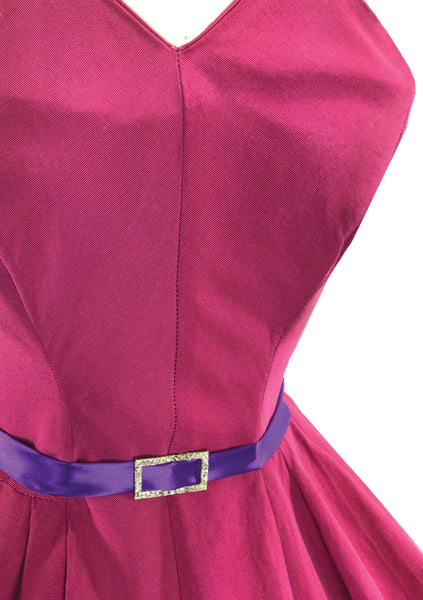 Vintage 1950s Fuchsia Pink Faille Party Dress - New