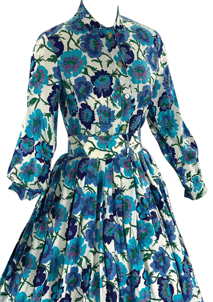 Late 1950s to Early 1960s Blue Floral Cotton Dress- New!