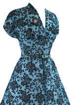 Vintage 1950s Blue Flocked Cocktail Dress- New!