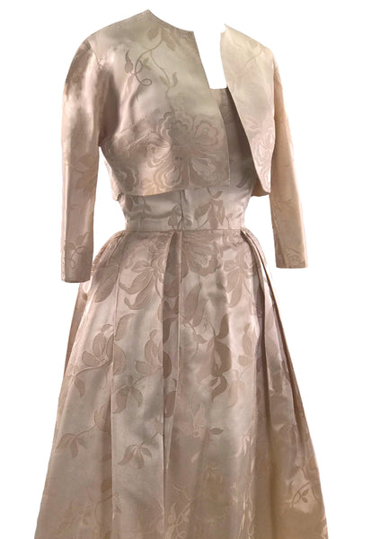 Vintage Early 1950s Pink Satin Brocade Dress- New!