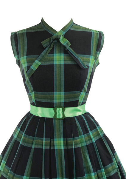 Vintage 1950s Black & Green Plaid Cotton Dress- New!