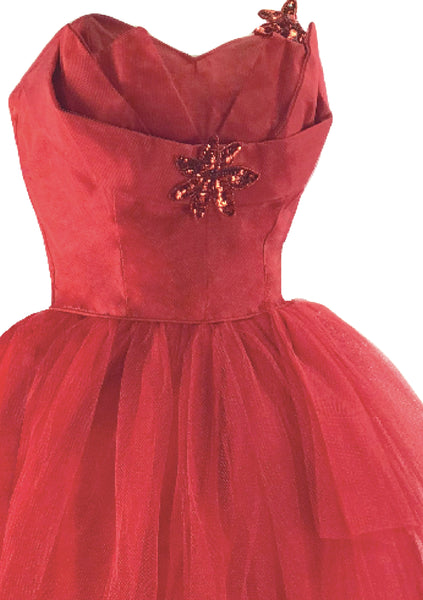 Vintage 1950s Red Tulle Cocktail Dress - New!