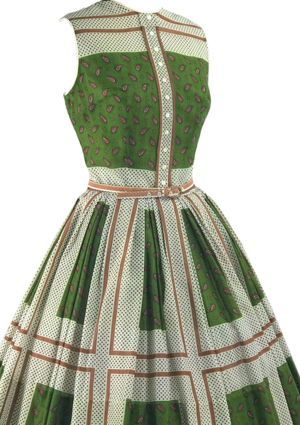 1950s Paisley Colour Block Cotton Designer Dress - New! (ON HOLD)