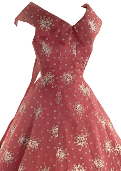 Stunning 1950s Coral Pink Flocked Nylon Dress- New!