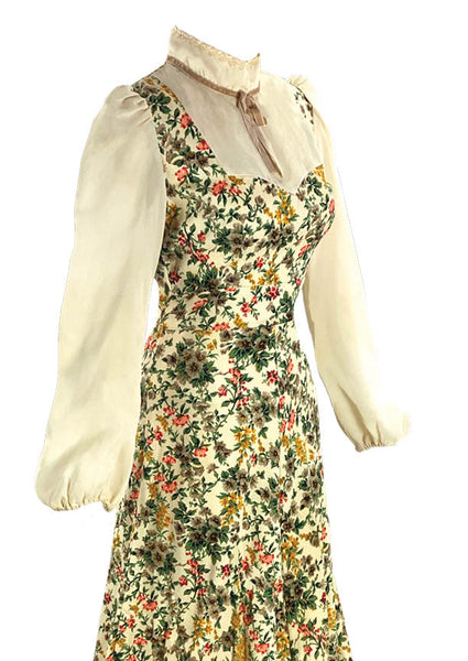 Beautiful 1970s Floral Ribbed Cotton Prairie Dress- New!