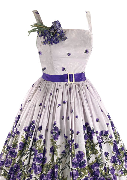Stunning 1950s Purple Violets Border Print Dress- New!