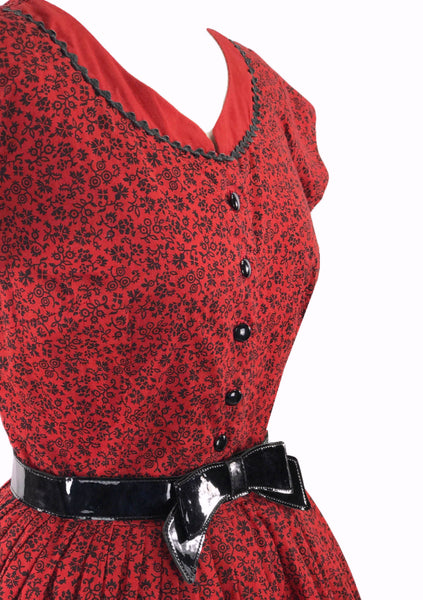 Original 1950s Red and Black Floral Cotton Day Dress - New!