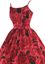 Vintage 1950s Red Roses Silk Dress - New! ( LAYBY)