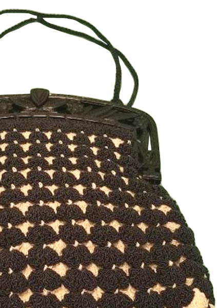 Vintage 1940s Brown & Cream Crochet Purse  - New!