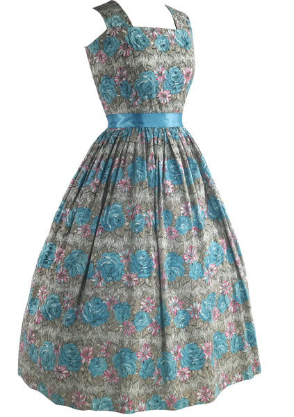 1950s Roses & Daisy Print Cotton Dress & Stole Ensemble- New!