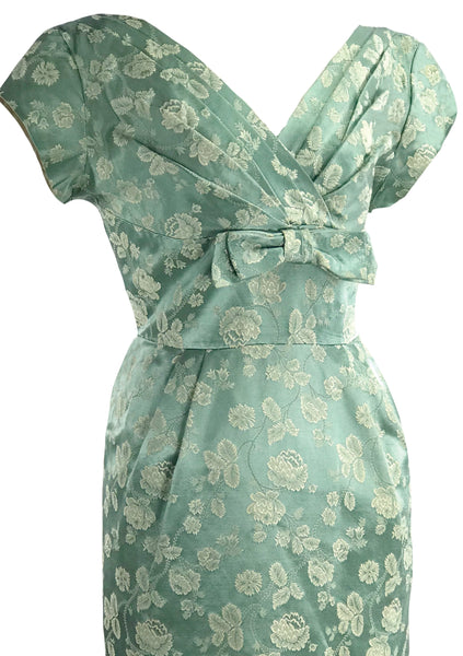 Vintage 1950s Seafoam Green Brocade Dress- New!