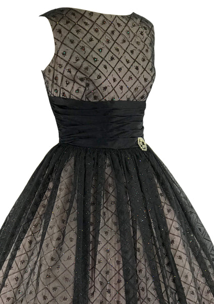 Vintage 1950s Black Flocked Chiffon Glitter Party Dress - New!