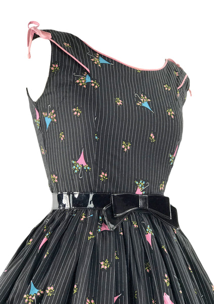 1950s Black Novelty Parasols and Roses Cotton Dress - New!