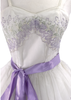 1950s Lilac & Green Embroidered Chiffon Party Dress - New!