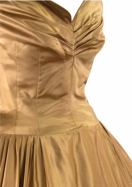 Vintage 1950s Liquid Rose Gold Silk Satin Party Dress - New!