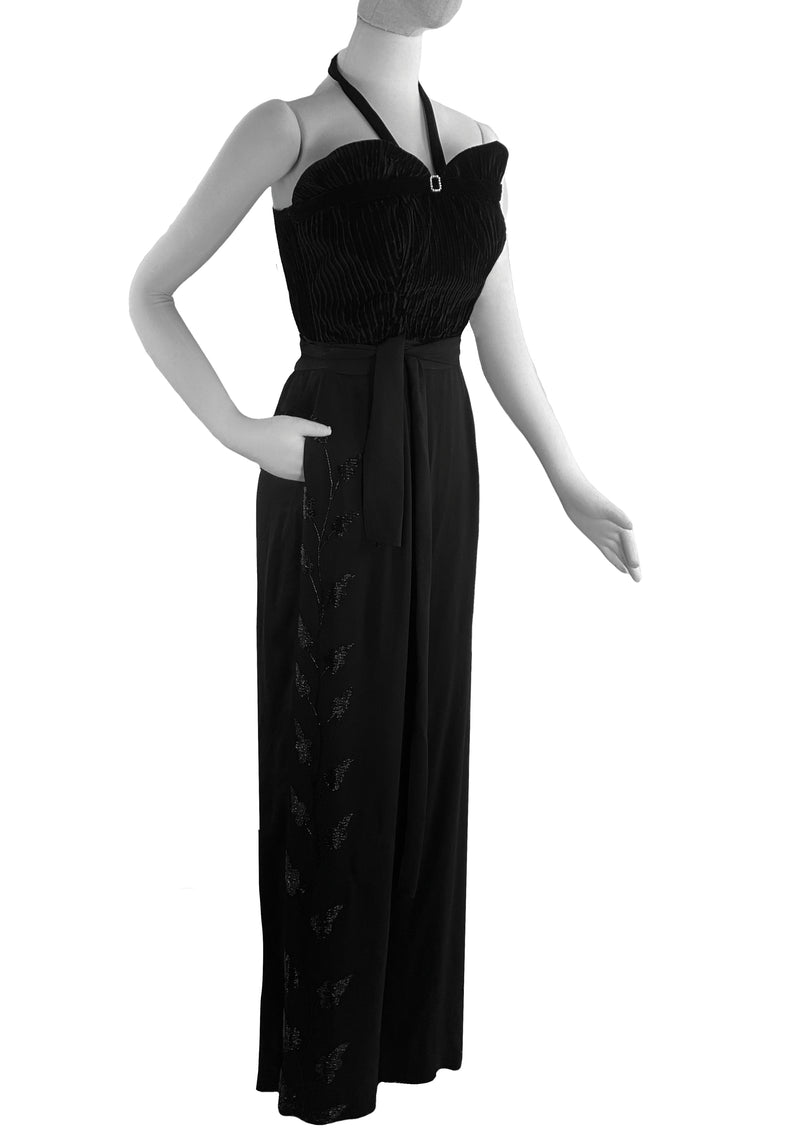 Sophisticated 1940s Black Rayon Crepe Beaded Trousers - New!