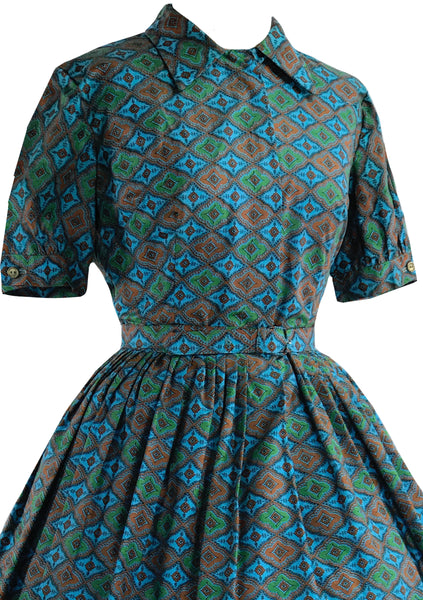 Late 1950s Early 1960s Blue Foulard Print Dress- New!